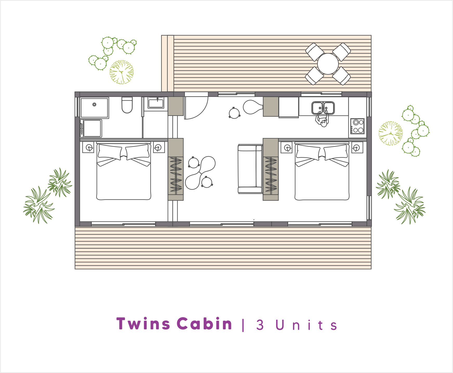 NoRootsHomes Modular Eco Home | Twins Cabin | 3 Units